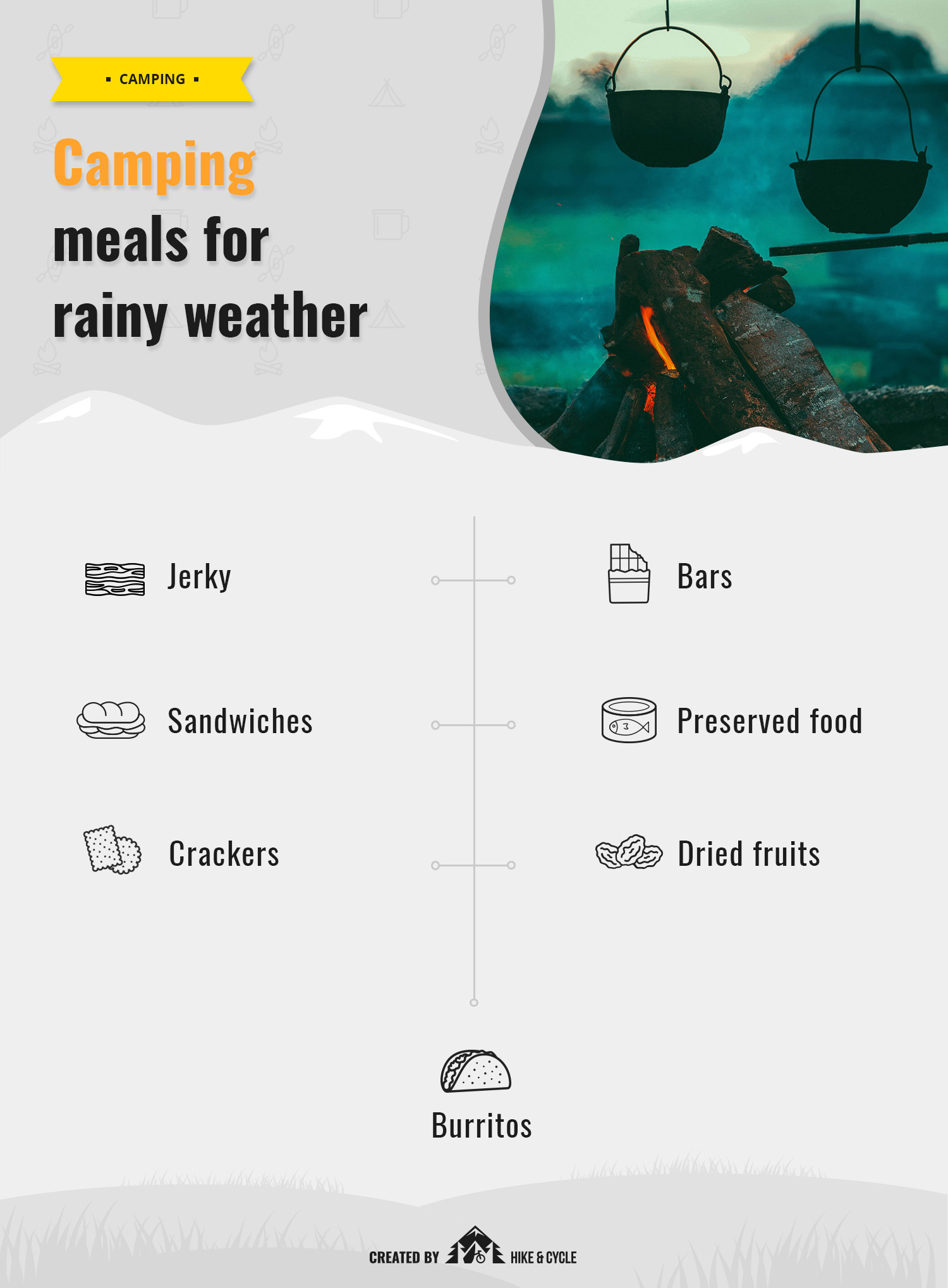 Camping meals for rainy weather