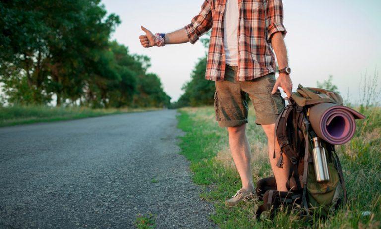 Hitchhiking traveler